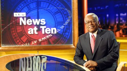 Sir Trevor Macdonald on the new set of ITV News At Ten. The popular news programme will return to t