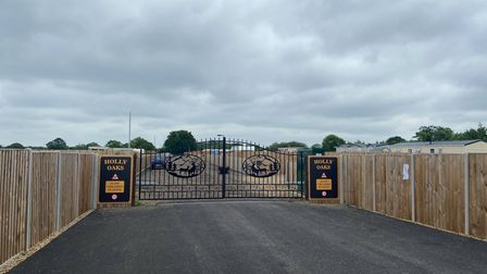 The gates to the Suton gypsy and traveller site in Suton, Wymondham