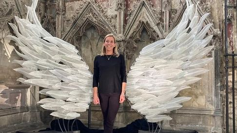 Glass-blower Layne Rowe's stunningangel wings sculpture atEly Cathedral's Lady Chapel.