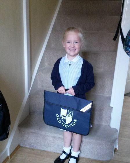 Aimee on her first day at the school in September 2015. She is now in Year 5.