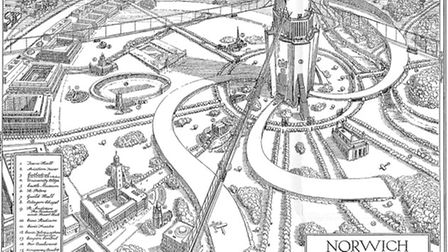 This is Norwich in 2035, as imagined in 1935. The illustration is taken from The Norwich Annual, 193
