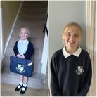 Aimee on her first day of school in 2015 (left) and today, in Year 5 at Old Newton Church of England Primary School.