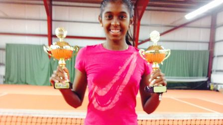 Monica Raviraj with her trophies from Iceland.