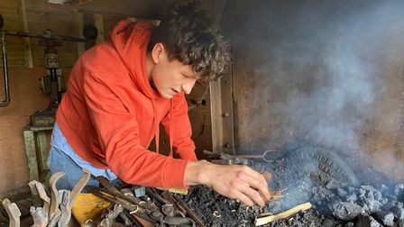 Oscar Rush, 18, has launched his own blacksmith business.