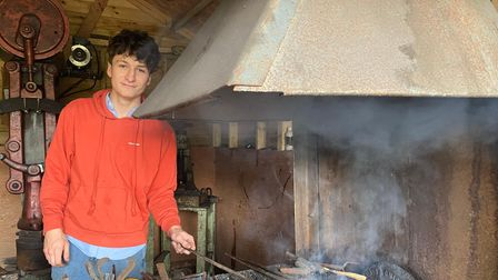Oscar Rush, from Polstead, taught himself to blacksmith by watching tutorials on Youtube.