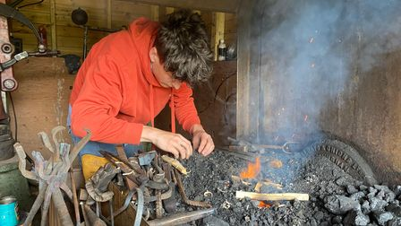 Oscar spends most of his time in his old hay barn doing his blacksmith work.