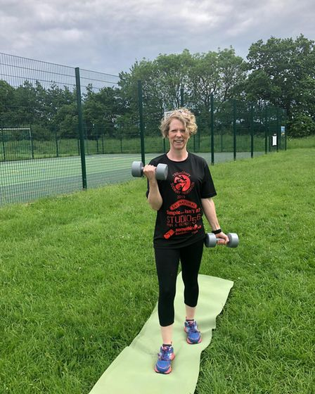 Sophie is pictured training where the new outdoor gym would be, next to the multi-use games facility.