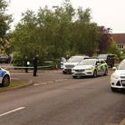 Police at the the scene of a stabbing at Winsford Road in Bury St Edmunds. Picture: DENISE BRADLEY