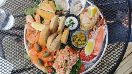 Seafood platter to share at The White Horse, Brancaster Staithe