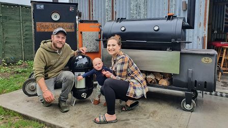 """Tim and Francesca Cresswell with their son Bertie, also known as """"chief brownie tester""""."""
