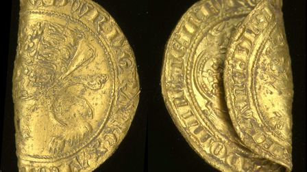 Gold leopard (half-florin) of Edward III, third coinage period, issued January to July 1344. It was found