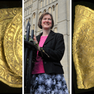 Dr Helen Geake, archaeologist and Norfolk finds liaison officer. Left is the leopard coin and right is the noble.