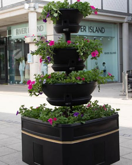 The 10 new pyramid planters are part of the 'welcome back' celebrations, working with West Suffolk Council and the BID.