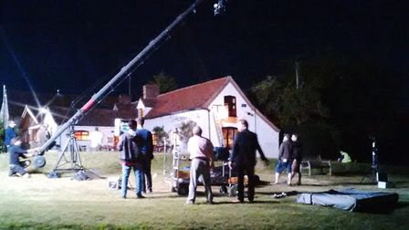 Filming at the Hunworth Bell pub, which Chris Richmond took part in.