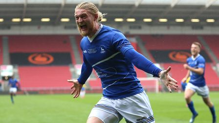 Hartlepool United's Luke Armstrong celebrates scoring their side's first goal of the game during the