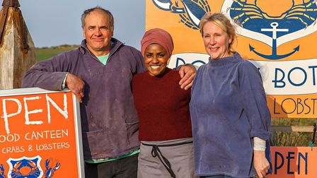 Nadiya Hussain at Rocky Bottoms in West Runton with Ali and Richard Matthews. Picture: Chris Taylor