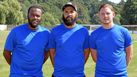 Barking head coach Adam Flemming, manager Justin Gardner and assistant manager Mark Dacey (pic Terry