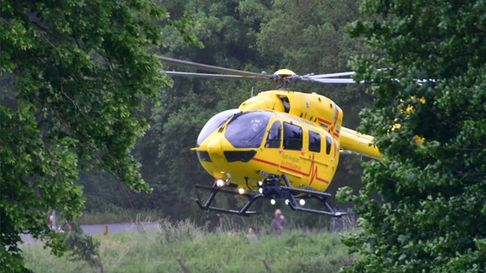 The East Anglian Air Ambulance leaving Bungay on June19.