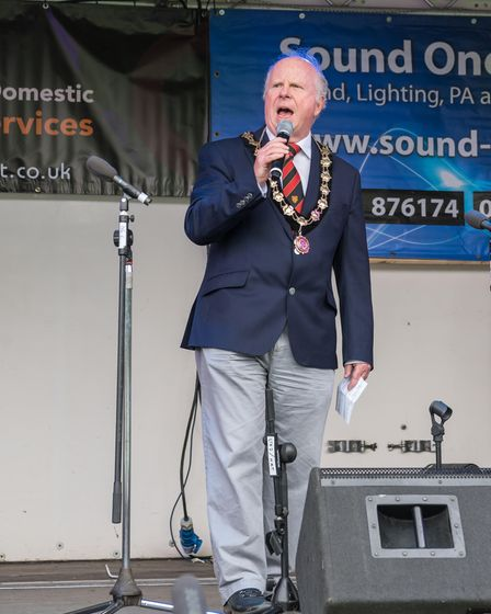Great Dunmow Town Council mayor Patrick Lavelle on stage at the music festival