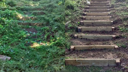A before and after image of the repaired steps on Dereham Footpath 1