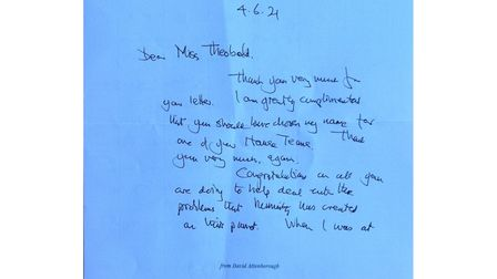 The first side of Sir David Attenborough's letter to Northgate High School in Dereham.