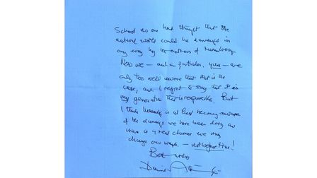 The second side of the letter from Sir David Attenborough to Northgate High School and Dereham Sixth Form College