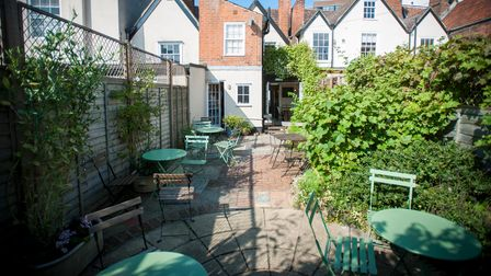 The secluded Applaud Coffee garden seating area in St Peter's Street, Ipswich