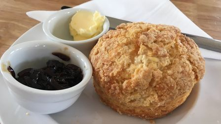 Cheese scone with chutney at The Wild Blackberry cafe in Bromeswell