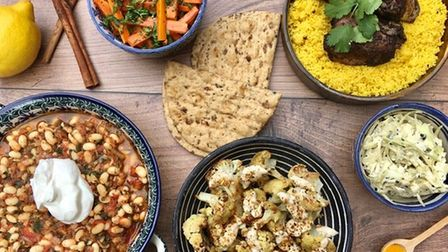 Iranian style dishes from Earsham Street Cafe, Bungay