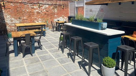 The outdoor courtyard at Cobblers in Hadleigh