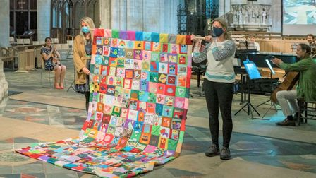 'Fen Stitch Together' Community quilt, which was produced by artist Louise Beale.