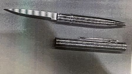 Picture of the knife, disguised as a pen, which Bradleigh Tice had on him on March 15 this year.