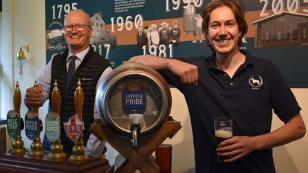 Matthew Hicks and Charlie Buckle at the new tap room at Mauldons Brewery