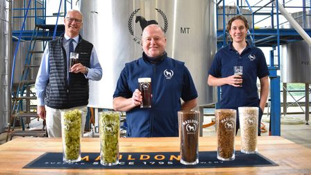 Matthew Hicks of Suffolk County Council, Steven Birch head brewer at Mauldons and Charlie Buckle owner of Mauldons brewery