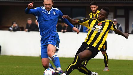 Lowestoft Town (blue/ white) v Harrogate Town at Crown Meadow.Robert Eagle.Picture: James Bass
