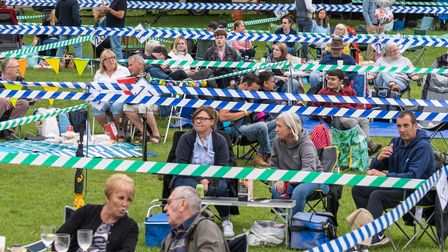 The audience sat in Covid-safe 'pods' at Great Dunmow Summer Solstice Sundown festival
