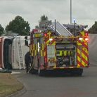 Emergency services at the scene of the A141 roundabout after a lorry overturned.