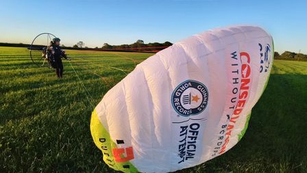 Sacha Dent hopes to set a new Guinness World Record for thefirstflight around Britain by paramotor