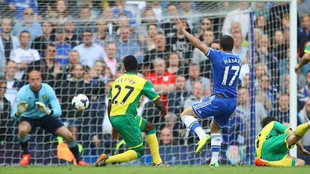 Eden Hazard has a shot saved by John Ruddy the last time Norwich City visited Chelsea.