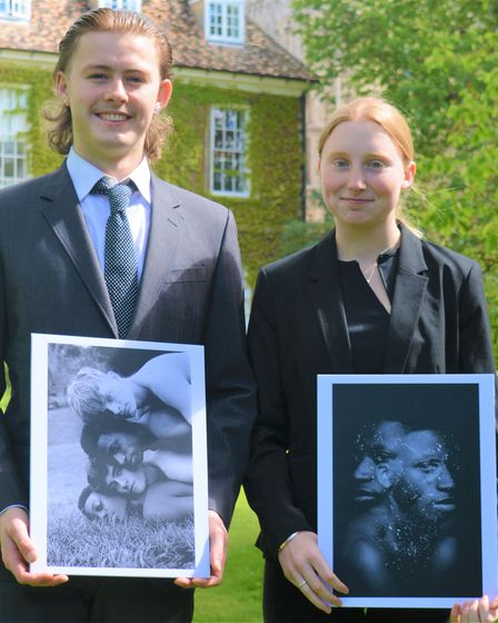Lucas Edevane and Emily Gredley with their images
