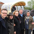 Benji Howell (pictured left) with protestors against the Barsham turbine at the public enquiry in 20