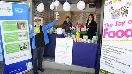Norwich Foodbank has opened a stall on Norwich market - one of the many ways people find to voluntee