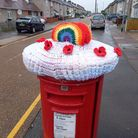 post box with crochet topper