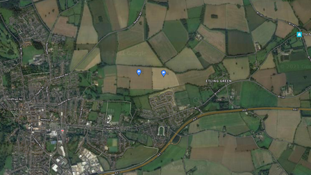 Aerial view of two fields Dereham Town Council is considering purchasing