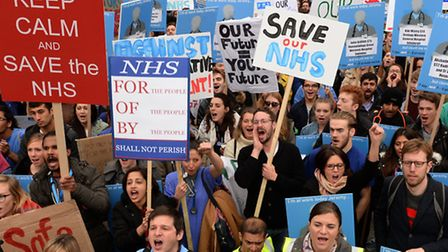 Junior doctors in an earlier march against the new contract proposal. Photo credit should read: Anth