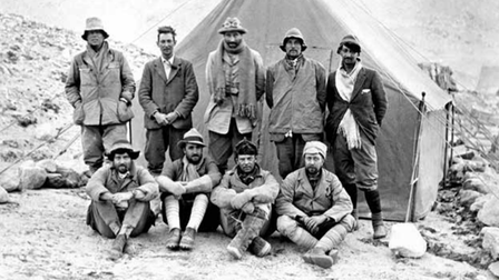 1924 expedition when Irvine and Mallory (standing,left) both died