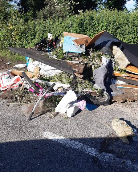 The rubbish has been dumped near the A14 near Kirton