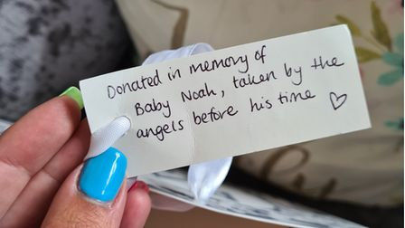The note that was left with the donation