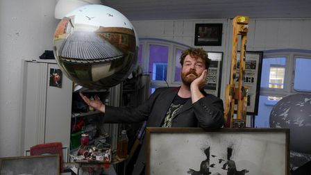Artist Will Teather in his studio at Muspole Workshops in Norwich.