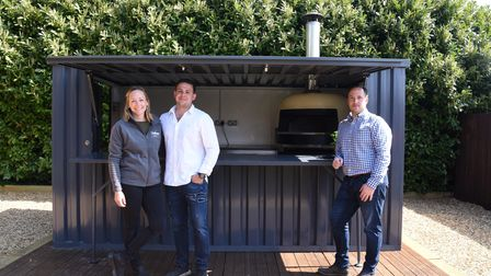 Lucy Jones, Grant Newland and Mark Dolman. A container kiosk kitchen has been donated to the The Kin